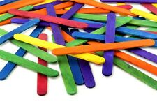 50 Flat Wooden Lolly Lollypop Sticks, Choose Between Natural and Coloured