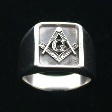 Very Nice Large Sterling Silver Masonic Signet Band Ring Size 8 -14