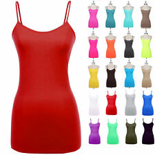 Seamless SPANDEX Spaghetti Strap Solid Tunic Tank Top Long Cami Camisole ONESIZE