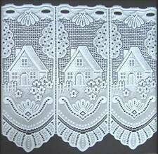 """WHITE COTTAGE CAFE NET CURTAIN in 12"""",18"""" & 24"""" Drops ~ Price Per Meter"""