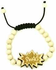 SWAG Bracelet New Good Wood Style Adjustable Pulls Macrame With 10mm Wood Beads