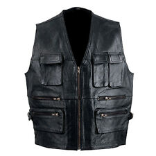 mens leather motorcycle biker riding zipper vest new all sizes