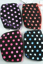 Black Flock Fabric Purse with Coloured Satin Spots - choice of 4 colours