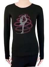 Figure Ice Skating Stretch Long Sleeve Shirt  With Rhinestone TR254 Rose Pink
