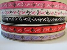 """3/8"""" 5 Yards Sweet Rabbit Bunny In Love Grosgrain Ribbon - 5 Colors Available"""