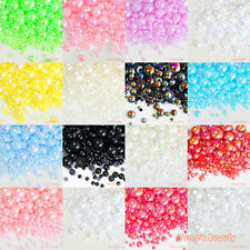 610 Mixed 2-10mm Colors AB Half Pearl Round Flatback Scrapbooking Nail Art Craft