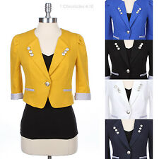Chic Cropped 3/4 Roll Up Sleeve One Button Blazer Jacket Casual Stripe Lined