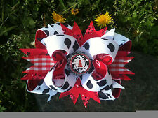 COWGIRL PERSONALIZED INITIAL RED COW PRINT BOTTLECAP HAIRBOW WITH OPTIONS
