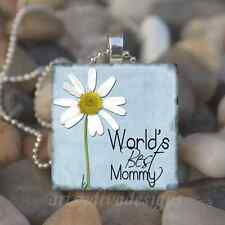 """""""WORLD'S BEST MOMMY"""" MOTHERS DAY MOM LOVE GLASS TILE PENDANT NECKLACE KEYRING"""