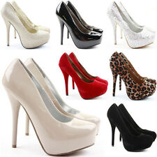 Ladies Womens Work Platform Wedding Court Shoes Pumps Stiletto High Heels Size
