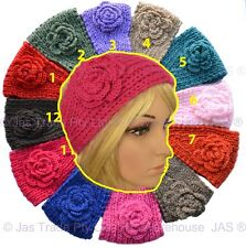 Crochet Handcrafted Headband Hair Band Cable Knit Knitted Flower Button 12Colors
