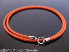 "2mm Orange Waxed Cord & Sterling Silver Necklace 12"" 14"" 16"" 18"" 20"" 22"" 24"" etc"