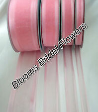 25 Yd Roll of  Light pink Satin Edge Organza Ribbon 10mm, 15mm, 25mm and 38mm