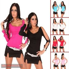 Womens Long Sleeve Party Top Cut Out Sleeves Sexy Casual Pink Blue Red Size 8 10