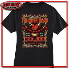 THUNDER ROAD HOT ROD T-SHIRT HIGHWAY TO HELL MOTOR OIL DEVIL EVIL BIKER M-3XL