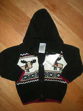 Gymboree NWT Baby Boy Holiday TraditionMoose Hoodie Cardigan Sweater