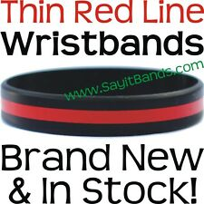 5 The Thin RED Line Wristband Bracelets Fire Fighter Support Awareness 2 Sizes
