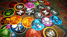 Pre Cut FLAMING SKULLS AND CROSSBONES  One Inch Bottle Cap Images! MUST SEE