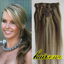 Free Shipping~7pcs Clip In Human Hair Extentions #2/613 Dark Brown & Blonde 70g