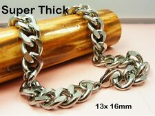 ~Custom Made~ Biker STAINLESS STEEL 13mm CURB Chain NECKLACE or BRACELET ++THICK