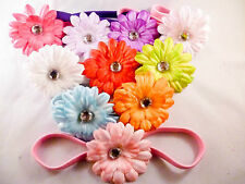 Baby Girl Crochet Headband Hair Band with Daisy Flower Baby Shower Women Small