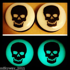 GHOST SKULL ACRYLIC GLOW IN THE DARK EAR PLUGS GAUGES day of the dead sugar