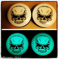 PREDATOR SKULL ACRYLIC GLOW IN THE DARK EAR PLUGS GAUGES day of the dead sugar