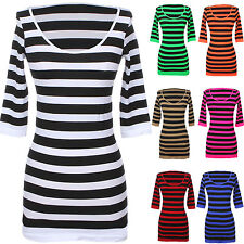 Sexy Seamless Round Neck Striped Half Sleeve Tunic Top Dress Stretchable Spandex