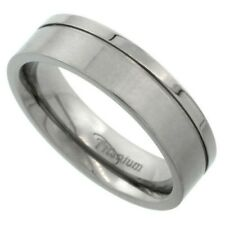 Titanium 6mm Comfort Fit Wedding Band Ring, Polished Grooved Square Edge, 7-14