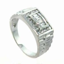 925 Sterling Silver CZ Designer Men's Ring