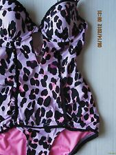 NWT Nanette Lepore Greenwich Vixen Purple Leopard Underwire Swim Bathing Suit