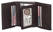 Genuine Leather Cowhide Men's Tri-Fold Wallet BLACK, BROWN, TAN # 4584