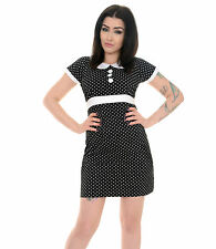 RETRO NEW VINTAGE 60s SCOOTER POLKA DOT PETER PAN COLLAR BLACK DRESS 8 10 12 14