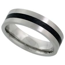 Stainless Steel 6mm Comfort Fit Wedding Band Ring Black Stripe Center Size 5-9