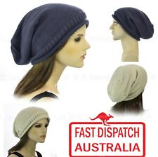 1 Knit Knitted Unisex Ladies Men Cap Slouchy Baggie Baggy Rasta Beanie Hat Plain