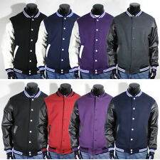 Mens New Varsity Letterman Faux Leather Baseball Jacket S M L XL 2XL 3XL 4XL