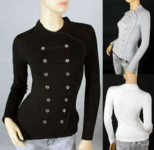 Cool Ladies Military Style Body Shape Casual  Knitting Top Sweater Shirt 302