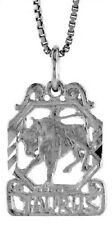 .925, Sterling Silver 19mm Tall  Zodiac Pendant for TAURUS *FREE SHIPPING*