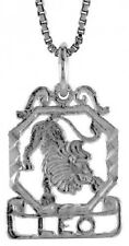 .925, Sterling Silver 19mm Tall  Zodiac Pendant for LEO *FREE SHIPPING*