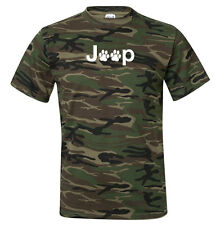 Jeep Paw Print Themed Camouflage Mens T-Shirt - w/ Supersoft Raised Letters