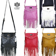 Ladies LYDC Hand Shoulder Bag Fringe Double Tassel Tote Purse Arti- Leather