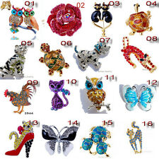 16Styles Select Mixed Enamel Rhinestone Animal Christmas Party Prom Brooch Pin