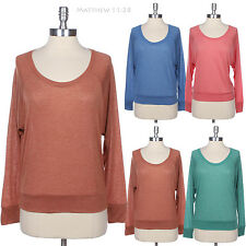 Basic Casual Long Sleeve Light Plain Round U Neck Top Sweater Easy Wear Cute