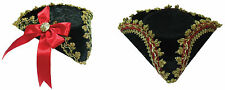 TRICORN MINI HAT RED BOW OR GOLD EDGE PIRATE FANCY DRESS ADULT