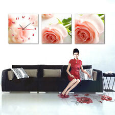 Pink Roses Wall Decorative Canvas Print Set Of 3 high quality - Framed
