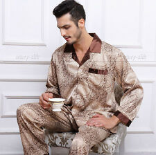 Mens Silk Pajamas Pyjamas Sleepwear PJS Suit U.S.S,M,L,XL,XXL,3XL Long Sleeves
