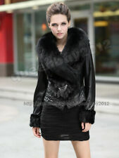 100% Real Sheep Leather Mink Fur Coat Jacket Vintage Fox Fur Collar New Fashion