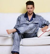 Mens Silk Pajamas Pyjamas Sleepwear Set U.S.S,M,L,XL,XXL,3XL Long Sleeves Blue