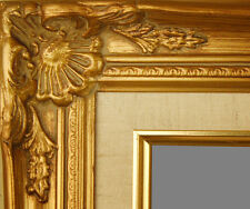 """PICTURE FRAME WOOD GOLD ORNATE LINEN WEDDING PHOTO CANVAS ART 2.75"""" WIDE"""
