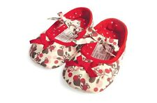 New Baby Girls Red Cherry Bow First Shoes 6-9, 9-12, 12-18 Months Size 2, 3, 4